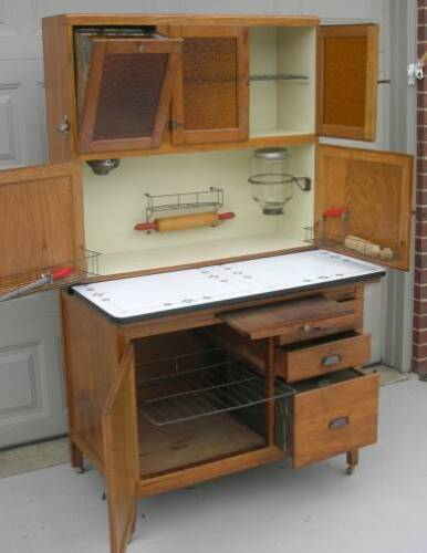 Oak Hoosier Style Kitchen Cabinet with Flour Bin, Sugar Jar, Amber Glass Doors