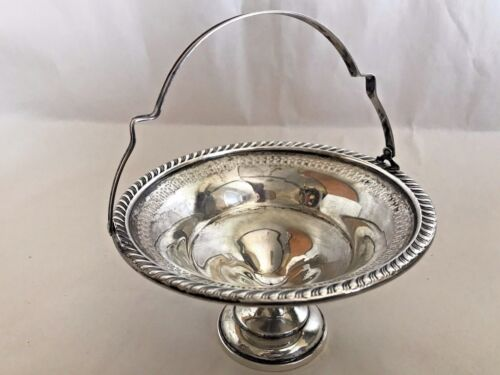 Antique Hamilton Sterling Silver Pierced Bowl Dish With Handle