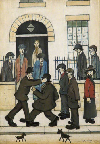 A Fight  by LS Lowry   Giclee Canvas Print Repro