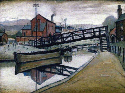 Barges on a Canal  by LS Lowry   Giclee Canvas Print Repro
