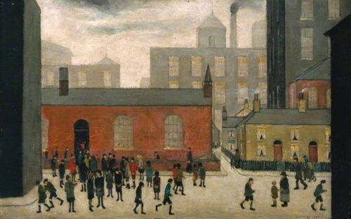 Coming Out of School  by LS Lowry   Giclee Canvas Print Repro