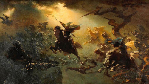 The Wild Hunt  by Peter Nicolai Arbo   Giclee Canvas Print Repro