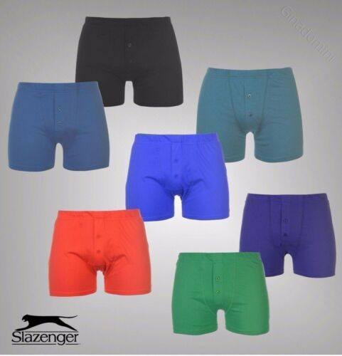 2 Pack Mens Slazenger Cotton Two Button Boxers Sizes from S to XXL