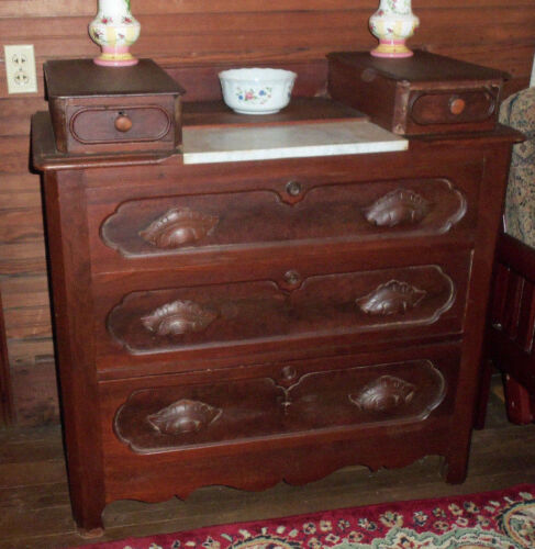 ANTIQUE BACHELOR'S CHEST DRESSER VANITY - SIDE GLOVE DRAWERS - WOOD SHELL PULLS