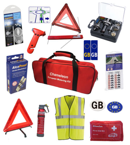 European Car Travel Kit Items for Legal Driving in Europe | Breathalyzers France <br/> car travel abroad kit/continental driving kit