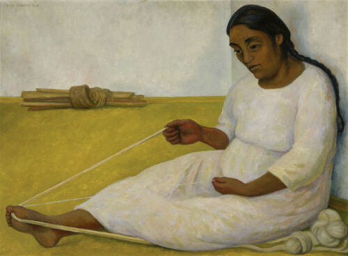 Indian Woman Spinning  by Diego Rivera  Giclee Canvas Print Repro