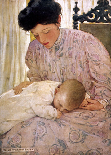"""A Mother Soothing...by Jessie Wilcox Smith  20"""" Paper Print  Repro"""