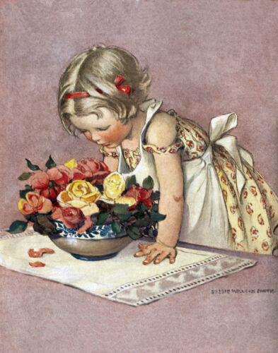 """Girl Admiring a Bowl of Roses  by Jessie Wilcox Smith  20"""" Paper Print  Repro"""