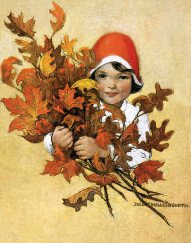 """Girl with Fall Leaves  by Jessie Wilcox Smith  20"""" Paper Print  Repro"""