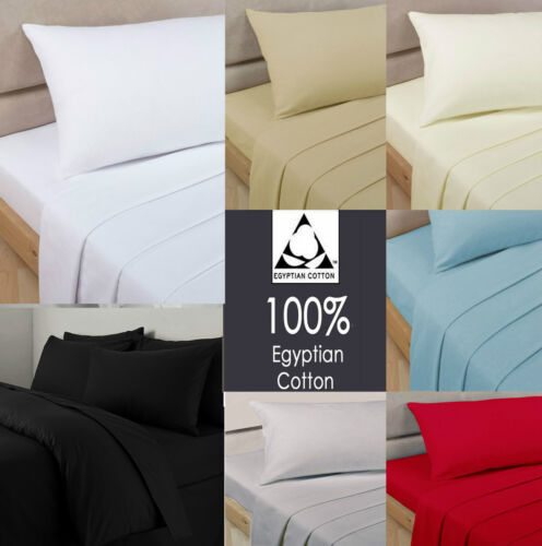 100% Egyptian Cotton Fitted Sheet 200 Thread Count Single Double King Super King <br/> Single , Double , King , Super King , Pillowcases