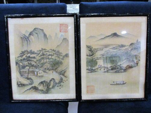 Pair Antique Chinese Paintings