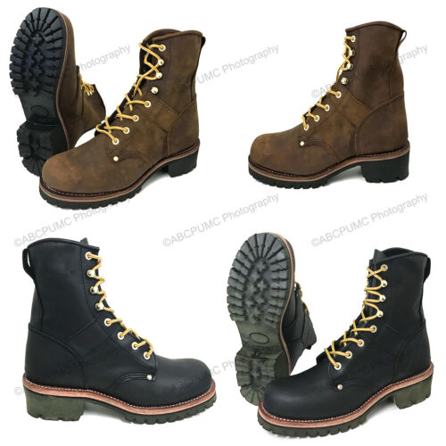 """Mens Logger Boots Leather 10"""" Good Year Welt Rugged Work Motorcycle Biker Sizes"""