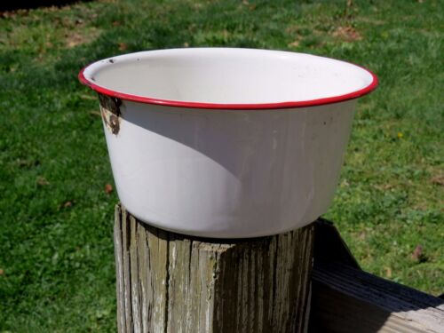 Antique PRIMITIVE Red White ENAMELWARE Chamber Pot Cooking Pan Stove UNIQUE