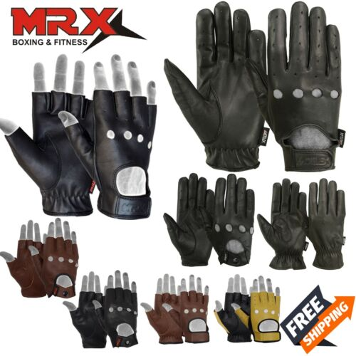 Men's Motorcycle Gloves Leather Bikers Car Driving Full Finger Button Black MRX