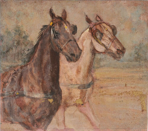 """Ludwig Koch (1866-1934) """"Two horses"""", oil study, early 20th century"""