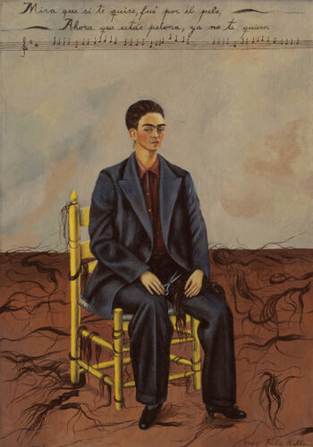 Self-Portrait with Cropped Hair  by Frida Kahlo  Giclee Canvas Print Repro