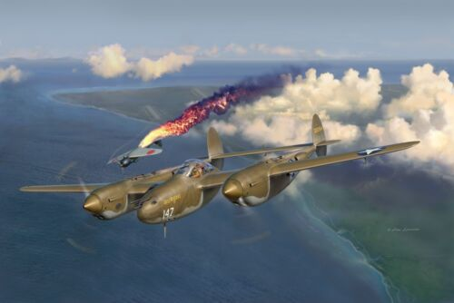 """""""Early Victories"""" Jim Laurier S/N Canvas Giclee Print - P-38 Ace Rex Barber"""
