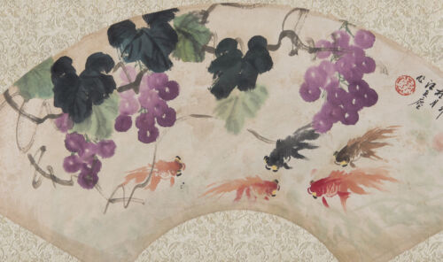 Chinese hand-painted fan painting-Flower Birds:Wang Yachen 汪亚尘 Shn17456