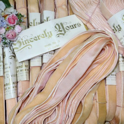 "1y 5/8"" VTG FRENCH PEACHY PINK VELVET RIBBON TRIM ANTIQUE DOLL JACQUARD CRUSHED"