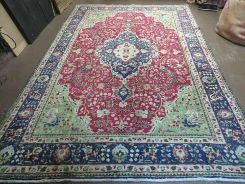 7' X 10' Vintage Authentic Hand Made Persian Tabriz Wool Rug Carpet # 41M Nice