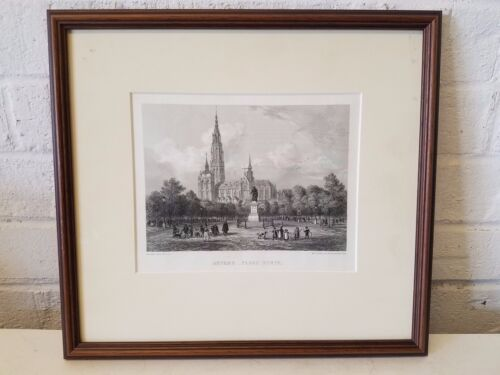 Anvers Place Verte Steel Engraving by A. & E. Rouargue