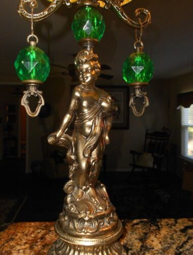 "Very Large Table Lamps_Set 2_Mid Century_Ornate BRASS_ CHERUB_ PRISMS_37"" High"