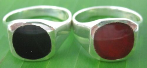 100% 925 sterling silver Red AGATE  BLACK ONYX 12mm SOLID Men Ring Q 1/2 T V X