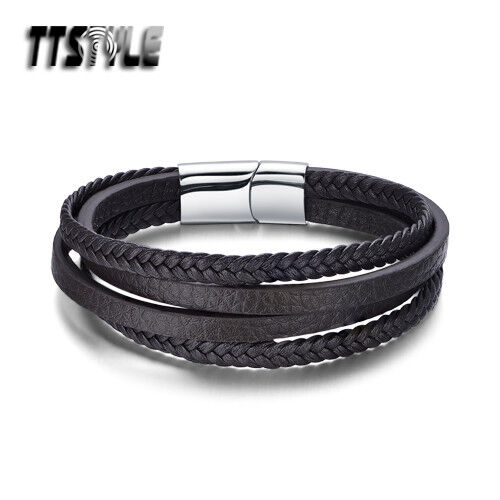 TTstyle Brown Leather Multi Stripe 316L Stainless Steel Clip Wristband NEW