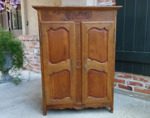 Antique French Carved Wood Child Doll Armoire Wardrobe Closet Salesman Sample