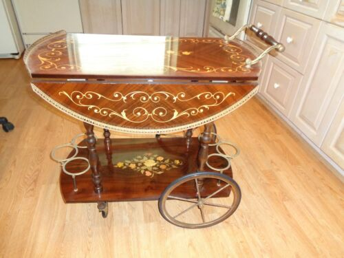 Vintage Italian Marquet Wood Floral Design Drop Leaf With Brass  Liquor/Tea Cart