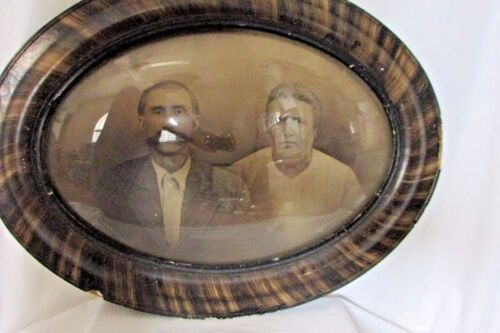Antique Oval Tiger Wood Domed Convex Bubble Glass Framed Older Couple Large