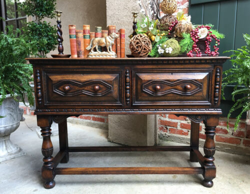 Antique English Carved Oak Sofa Hall Table Jacobean Revival Sideboard