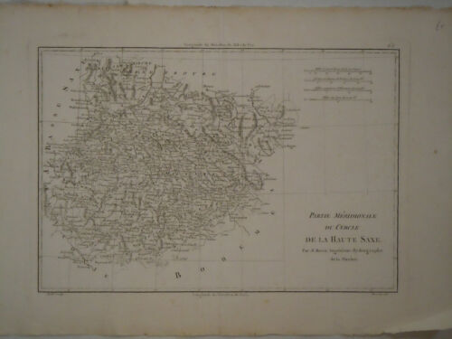 c.1780 Genuine Antique map east central Germany. nice detail. by Rigobert Bonne