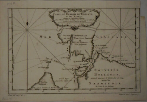 1758 Genuine Antique Map of New Zemble, Weigats, New Holland. by J.N. Bellin