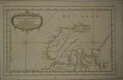 1758 Genuine Antique Map of New Zemble, Samoieden. Russia. by J.N. Bellin