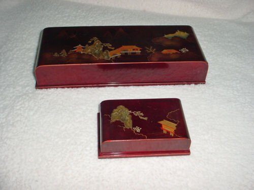 ANTIQUE JAPANESE SET JEWELRY BOXES RED LACQUER MOTHER PEARL Pagoda Bird Mtn Exc!