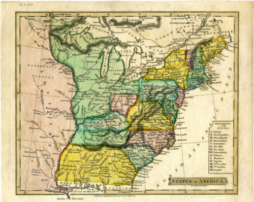 "1814 Genuine Antique hand colored map ""States of America"". by John Russel"