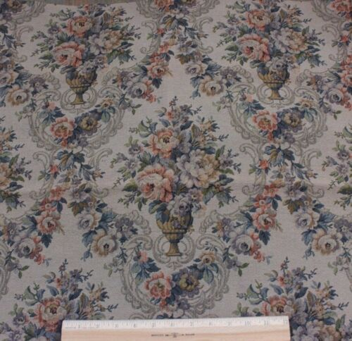 """Antique French """"Old World"""" Roses Frame Layout Cotton Jacquard Tapestry c1928"""