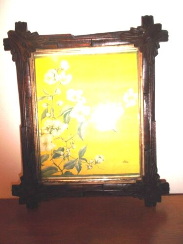 Antique Victorian Leaf Corner Adirondack Black Forest Picture Frame 12 X 14
