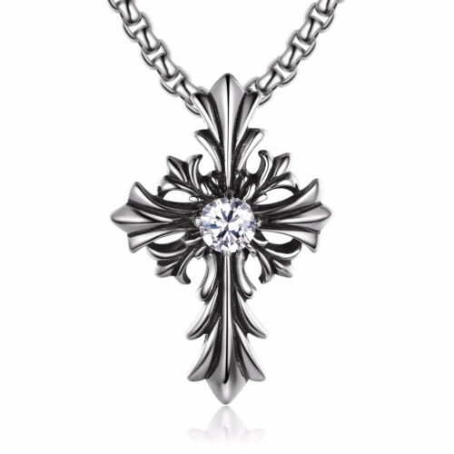 Silver cross pendant simulated diamond stainless steel ball chain necklace