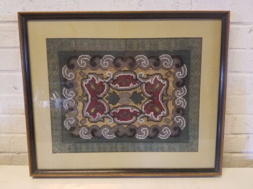 Antique Needlepoint and Bead Work Framed Tapestry