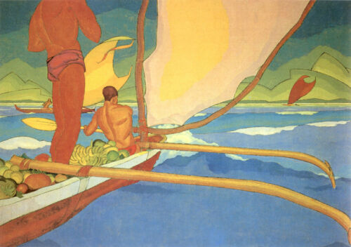 Men in an Outrigger Canoe   by Arman Manookian Paper Print Repro