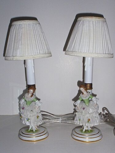 Antique True Pair, Marked Muller Volkstedt Dresden Lace Figural Porcelain Lamps