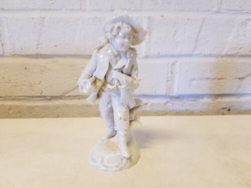 Antique German Porcelain Figurine Likely Dresden Boy Carrying Music Instruments