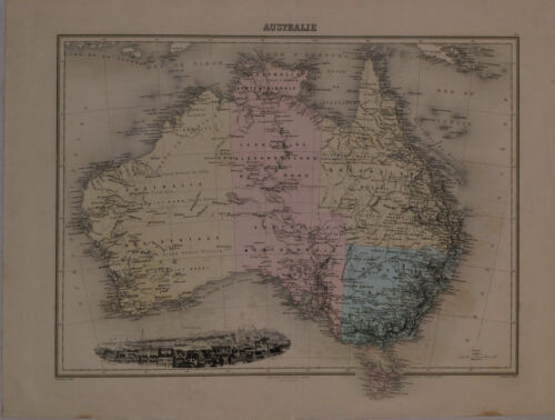 1865 Genuine Antique hand colored map of Australia. by J. Migeon