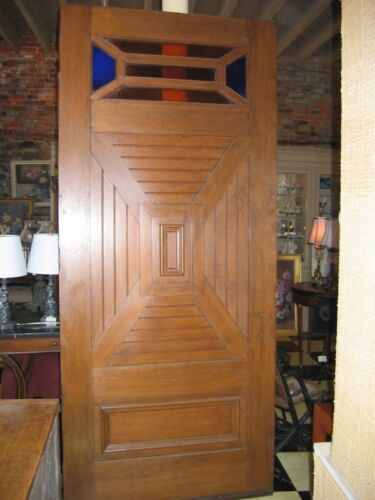 "Antique Arts and Crafts Door- 95""H x 42""W. pattern wood design on front and back"