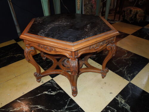 """Antique, Sextagonal, Walnut, Marble top, 17.5""""H, Occasional Table"""
