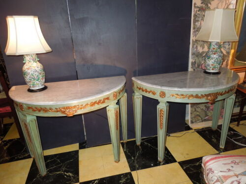 Pr. of 20th c Demi Lune Tables, Gild Carving Design and Marble Tops