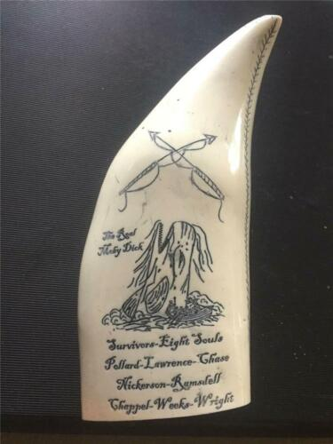 """Whale tooth scrimshaw resin replica """" REAL MOBY DICK"""" fine details Dave Bolling"""