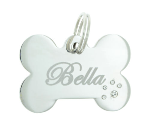 Custom Engraved Personalized Bone Stainless Steel Pet Paw Diamante Dog ID Tag